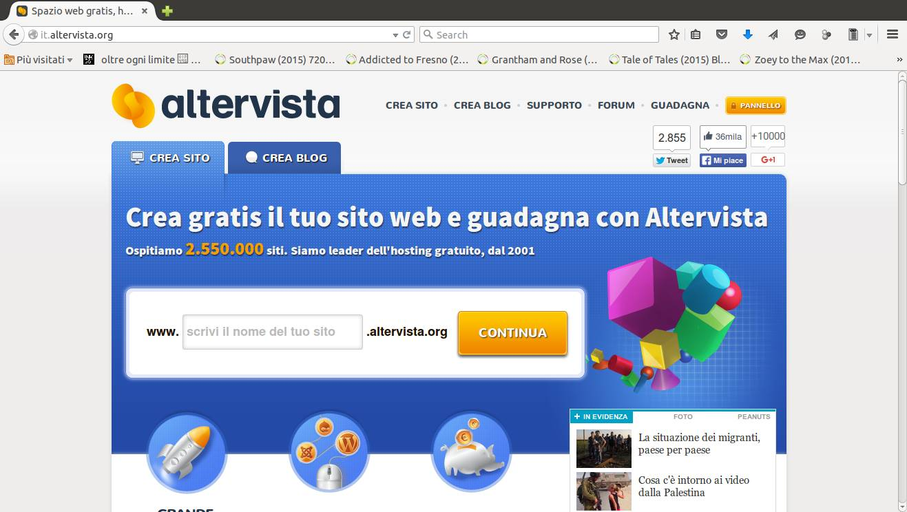 Home page altervista
